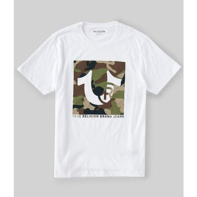 トゥルーレリジョン メンズ シャツ トップス Short-Sleeve Box Horseshoe Logo Crew T-Shirt