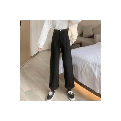 【送料無料】女性のジーンズ 荷重 秋 ハイウエスト 着やせ ルース ワイドレッグパン | 364331_A63604-4536328