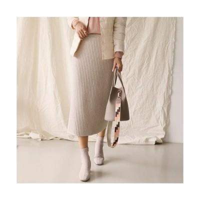 『当店の祭り』 ウエストゴム 無地 ニット スカート 大きいサイズ ルーズ 13号 ひざ丈 スカーチヨ 30代 40代 50代 ファッション