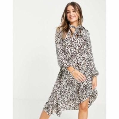 ローラ メイ Lola May レディース ワンピース ミニ丈 ワンピース・ドレス Tie Neck Mini Smock Dress In Leopard Print マルチカラー