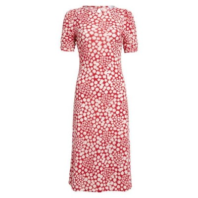 オールインフボール ワンピース トップス レディース Floral Print Midi Dress Red White Daisy