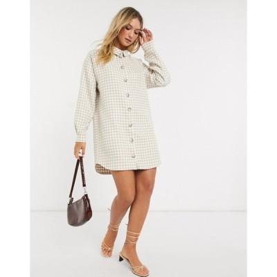 エイソス レディース ワンピース トップス ASOS DESIGN boucle mini shirt dress in houndstooth