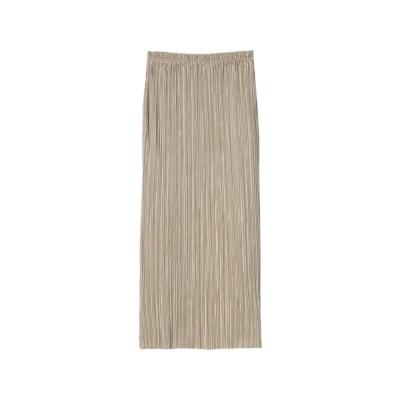 リエディ Re:EDIT [低身長サイズ有]グロッシーサテンプリーツIラインスカート (モカグレージュ)
