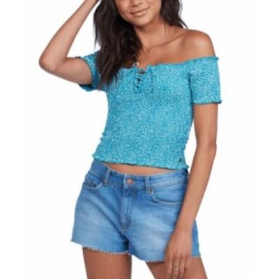 ロキシー レディース シャツ トップス Juniors' Us Together Cotton Off-The-Shoulder Top Biscay Bay Messy Dots