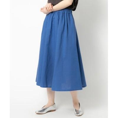 NIMES/ニーム コットンリネン キャンバス フレアースカート ブルー フリー