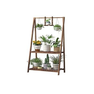 GZHK Solid Wood 2-Tier Hanging Plant Stand Tall Heavy Duty Planter Shelves Flower Pot Organizer Rack Multiple Flower Display Shelving Holder