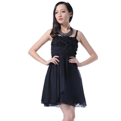 予約 上品 胸元バラ ハイウエスト スリム効果 シフォン ドレス ワンピース黒YJ-2895-ST   送料無料