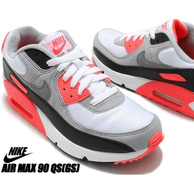 NIKE AIR MAX 90 QS (GS) white/black-cool grey dc8334-100 RADIANT RED ナイキ エアマックス 90 ガールズ レディース  AM90 ラディアンレッド INFRARED