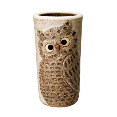 信楽焼傘立「ふくろう彫り傘立白」 しがらき 陶器 和風 玄関 アンブレラスタンド ラック 収納 かさたて カサ立て 色 リフル おしゃれ 送料無料