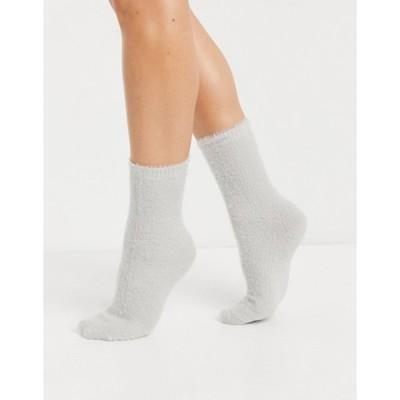 エイソス レディース 靴下 アンダーウェア ASOS DESIGN super fluffy calf length lounge socks in gray