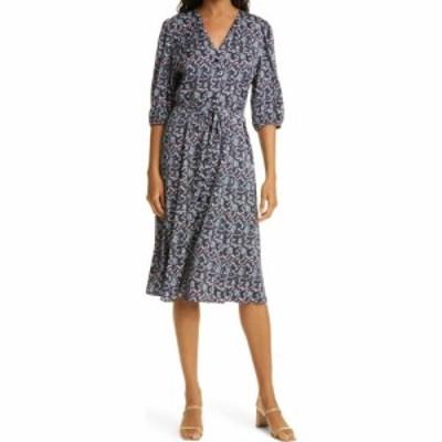 ノードストローム NORDSTROM SIGNATURE レディース ワンピース ワンピース・ドレス Button Front Stretch Silk Dress Navy Sea Floral