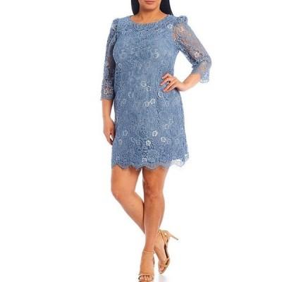 ジェシカハワード レディース ワンピース トップス Plus Size 3/4 Sleeve Lace Puff Shoulder Sheath Dress