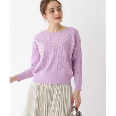 Couture brooch / リボンケーブルニット WOMEN トップス > ニット/セーター