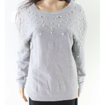 Pearl  ファッション トップス Halogen NEW Gray Womens Size XS Pearl Embellished Pullover Sweater