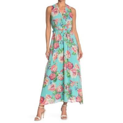 ロンドンタイムス レディース ワンピース トップス Floral Sleeveless Blouson Maxi Dress AQUA/CORAL