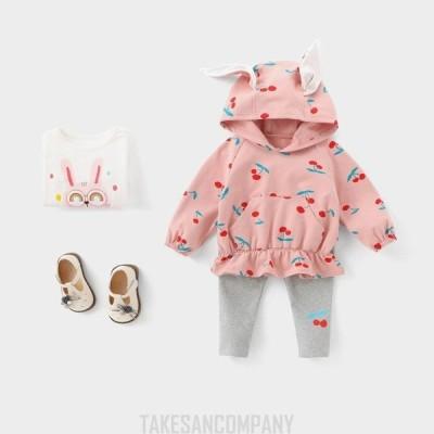 韓国子供服 2点セット ベビーチェリー柄耳付き春秋冬セーター+パンツ   長袖 フード付きゆったり 女の子 キッズ こども 女児 シンプル  人気 可愛い