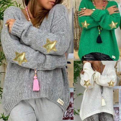レディースファッション 女性らしい 長袖ニット 通勤 セーター 女性セーター Vネック ニットセーター   チューブ.セーター