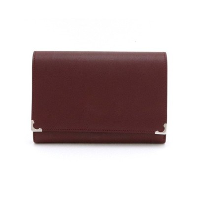 Cartier カルティエ マストライン マスト ドゥ カルティエ がま口 2つ折財布 レザー ボルドー シルバー金具 L3000612 (中古)
