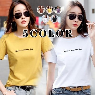 5カラー Tシャツ ロゴ ゆったり 大きいサイズ 半袖 春 夏 レディース M〜3XL