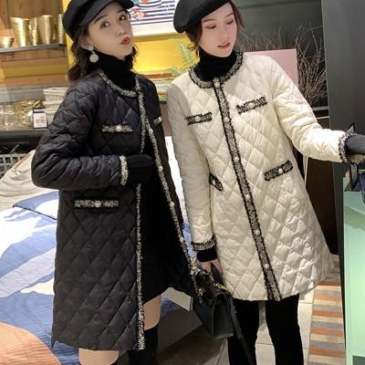 キルティングロングジャケット で華やかな印象に コート アウター キルティングダウン ロングコート 秋冬 防寒防風中綿コート 中長アウター レディース服 コート フェイクダウン  韓国ファッション