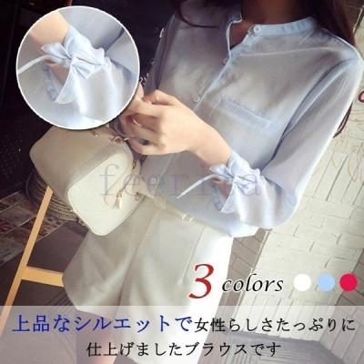 ブラウス シフォンブラウス blouse シャツブラウス 7分袖 レディース Yシャツ 大きいサイズ 無地 立ち襟 フォーマル トップス チュニック