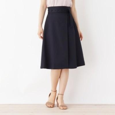 インデックス(index)/【洗える・42(LL)WEB限定サイズ】ボタンベルト風Aラインスカート