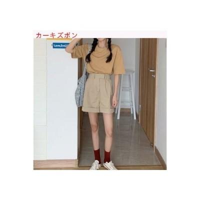 【送料無料】セット 女 夏 韓国風 単一色 着やせ 丸襟 クリンピング ハイウエスト カジュアルパン | 364331_A63294-8499910
