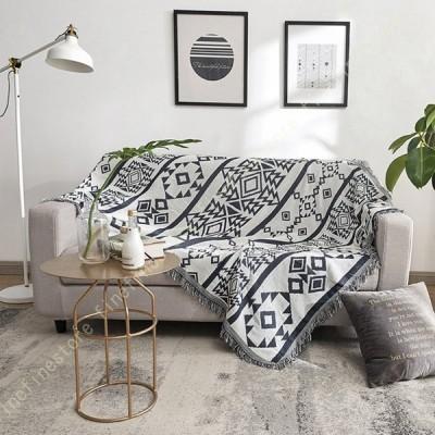 フリンジ付き 綿製品のブランケット 多機能 ソファーのカバー ラグ テーブルクロス テーブル掛け枚 バスマット 毛布 ソファカバー エスニック ベッドカバー