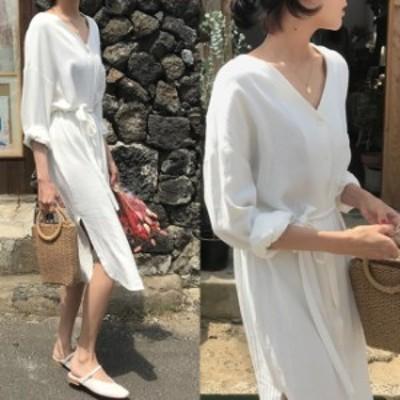 シャツワンピース 夏 vネック ノーカラー ワンピース 白 韓国 ファッション レディース 夏 ミモレ ワンピ ウエストマーク ボタンワンピ