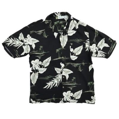 オールド レーヨン アロハ ハワイアンシャツ ブラック サイズ表記:L