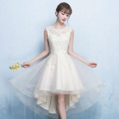 パーティードレス 春夏 結婚式 大きいサイズ 20代 ミニ丈 ノースリーブ ラウンドネック レース 花柄 刺繍 Xライン シフォン ガーリー