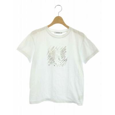 【中古】ラブレス LOVELESS Tシャツ カットソー フォイルプリント メッセージ 半袖 36 白 /AO ■OS レディース 【ベクトル 古着】
