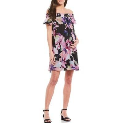 アレックスマリー レディース ワンピース トップス Brita Off-The-Shoulder Maternity Dress Black/Pink