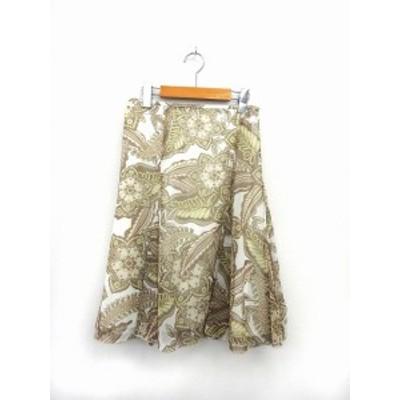 【中古】ロートレアモン LAUTREAMONT スカート 膝丈 フレア サイドジップ 総柄 2 緑 グリーン /ST16 レディース