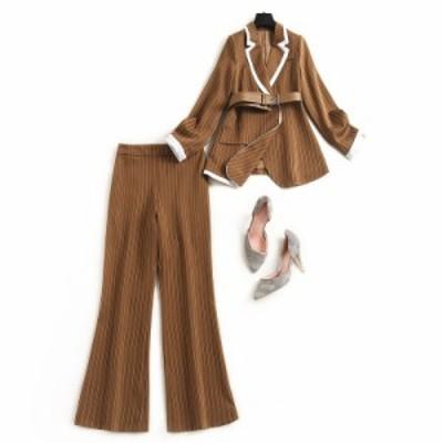 スーツ ツーピース セットアップ パンツスーツ ママ 母 入学式 入学式 フォーマル ビジネス ストライプ