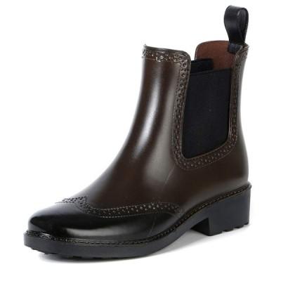 [Ludus Felix] レインブーツ レディース ショート ヒール サイドゴア 完全防水 レインシューズ レディースレインブーツ 長靴 (24cm