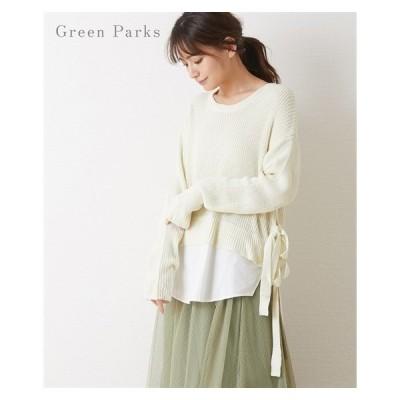 レディース Green Parks ニット × シャツ レイヤード チュニック ニッセン nissen