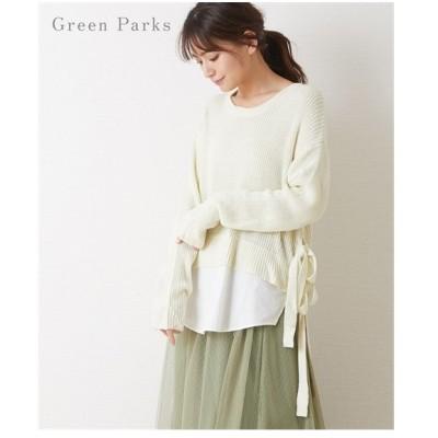 レディース Green Parks ニット × シャツ レイヤード チュニック ニッセン