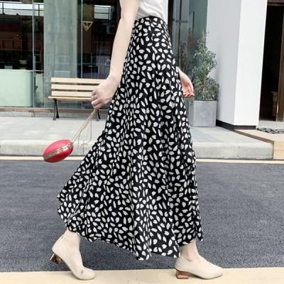 送料無料 全6色 韓国ファッション エレガント 花柄 ドット柄 2パターン ロングスカート
