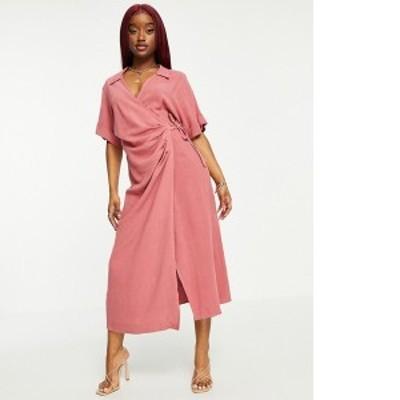 エイソス レディース ワンピース トップス ASOS DESIGN linen wrap midi dress in dusty rose Dusty rose