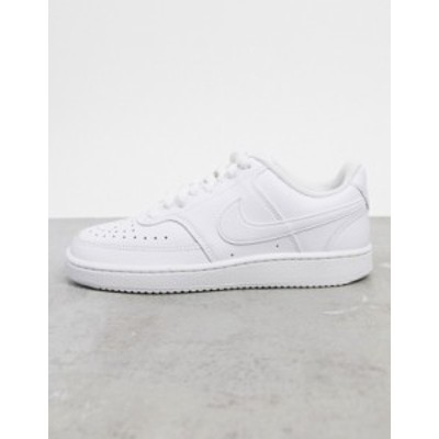 ナイキ レディース スニーカー シューズ Nike Court Vision Low leather sneakers in triple white White