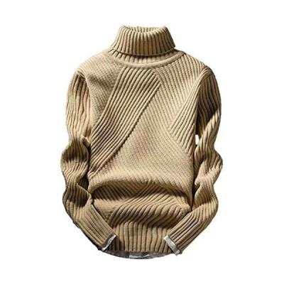 [アスペルシオ] ハイネック ニット セーター 太編み メンズ (ベージュ L)