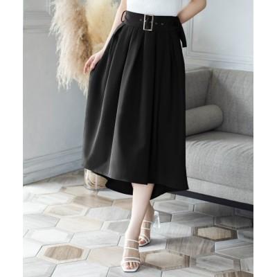 【ジュリアブティック】 バックルベルト付きフィシュテールスカート/21073 レディース ブラック ONE JULIA BOUTIQUE