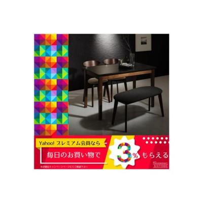 ダイニングテーブルセット 4人用 モダンデザイン ダイニング 4点セット テーブル+チェア2脚+ベンチ1脚 ブラック×ウォールナット W115 5000297037