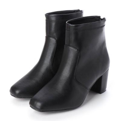 マシュガール masyugirl 【4E/幅広ゆったり・大きいサイズの靴】 6.5cmヒールのストレッチショートブーツ (ブラック) SOROTTO