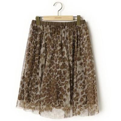 スカート レオパード柄フレアスカート