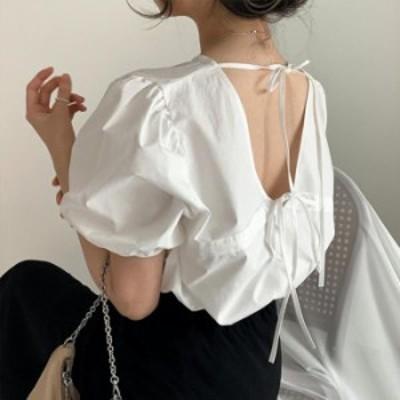 【2020春夏】【2カラー F】ヘルシーな肌見せでトレンドのスタイリングに!背中のリボンデザインがポイントのブラウス♪ ブラウス 半袖