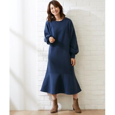 大きいサイズ 裏起毛  フレア切替ワンピース ,スマイルランド, ワンピース, plus size dress