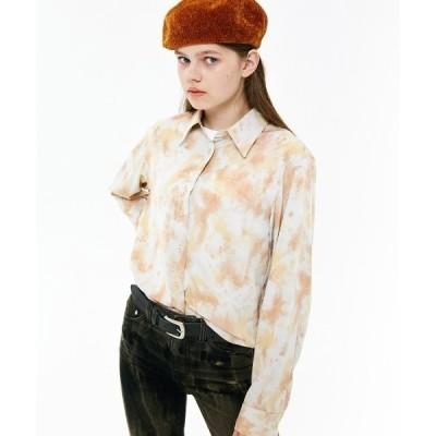 シャツ ブラウス MARBLE SILKY SHIRT/マーブルシルキーシャツ
