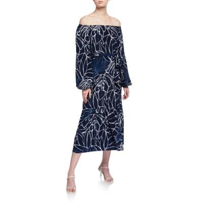 ラファイエットワンフォーエイト レディース ワンピース トップス Aurora Reverse Porcelain Print Off-the-Shoulder Silk Dress